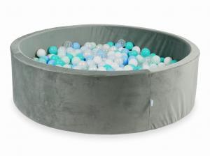 Ball Pit with balls 700pcs 130x40 velvet gray (light mint, turquoise, baby blue, baby blue pearl, pearl, white, transparent)