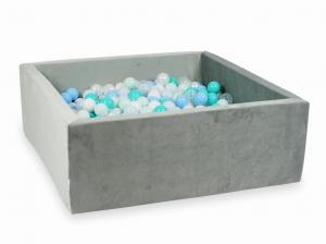 Ball Pit with balls 600pcs 110x110x40 velvet gray (light mint, turquoise, baby blue, baby blue pearl, pearl, white, transparent)