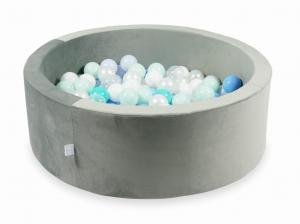 Ball Pit with balls 200pcs 90x30 velvet gray (light mint, turquoise, baby blue, baby blue pearl, pearl, white, transparent)