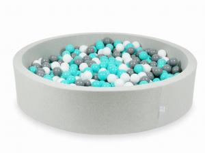 Ball Pit light gray 130x30 with balls 600pcs (turquoise, white, gray)