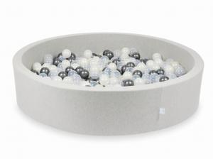 Ball Pit light gray 130x30 with balls 600pcs (transparent, metallic graphite, mermaid effect)