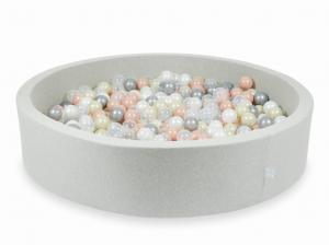 Ball Pit light gray 130x30 with balls 600pcs (transparent, pearl, silver, rosegold, light gold)
