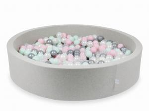 Ball Pit light gray 130x30 with balls 600pcs (transparent, pearl, silver, baby pink, light mint)