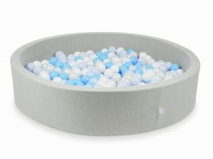 Ball Pit light gray 130x30 with balls 600pcs (white, pearl, baby blue, baby blue pearl)