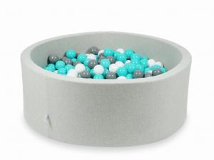 Ball Pit light gray 110x40 with balls 500pcs (turquoise, white, gray)