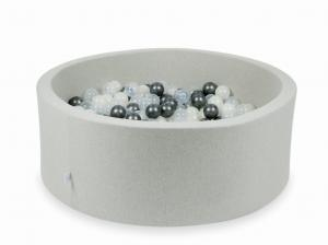 Ball Pit light gray 110x40 with balls 500pcs (transparent, metallic graphite, mermaid effect)