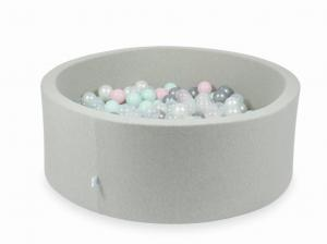 Ball Pit light gray 110x40 with balls 500pcs (transparent, pearl, silver, baby pink, light mint)