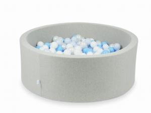 Ball Pit light gray 110x40 with balls 500pcs (white, pearl, baby blue, baby blue pearl)