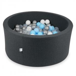 Ball Pit 90x40cm graphite with balls 300pcs (baby blue, silver, transparent, white)