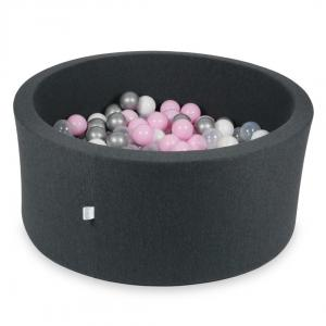 Ball Pit 90x40cm graphite with balls 300pcs (baby pink, white, silver, transparent)