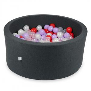 Ball Pit 90x40cm graphite with balls 300pcs (transparent, pearl, heather, red)