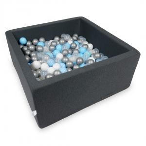 Ball Pit 90x90x40cm graphite with balls 400pcs (baby blue, silver, transparent, white)