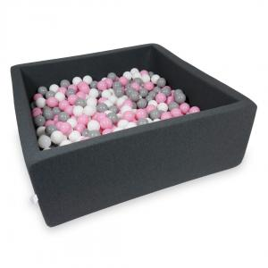 Ball Pit 110x110x40cm graphite with balls 600pcs (powder pink, gray, white)