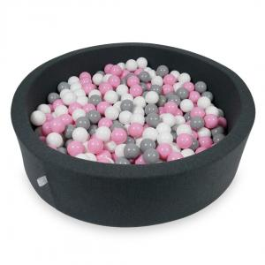 Ball Pit 110x30cm graphite with balls 400pcs (powder pink, gray, white)
