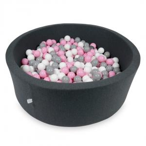 Ball Pit 115x40cm graphite with balls 500pcs (powder pink, gray, white)