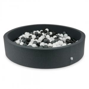 Ball Pit graphite 130x30 with balls 600pcs (white, graphite, black, wooly white)