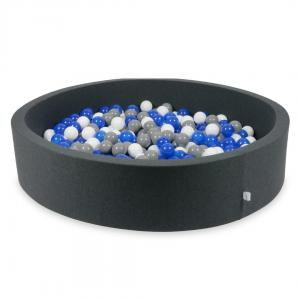 Ball Pit graphite 130x30 with balls 600pcs (blue, white, gray)