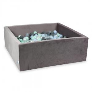 Ball Pit with balls 600pcs 110x110x40 velvet lilac (light mint, baby blue pearl, gray, transparent, pearl)