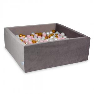 Ball Pit with balls 600pcs 110x110x40 velvet lilac (baby pink, pearl, gold)