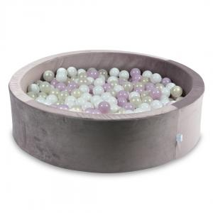 Ball Pit with balls 400pcs 115x30 velvet lilac (white, baby pink pearl, mermaid effect)