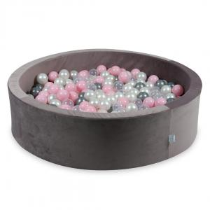Ball Pit with balls 400pcs 115x30 velvet lilac (pearl, transparent, silver, baby pink)