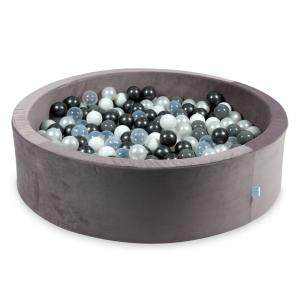 Ball Pit with balls 400pcs 115x30 velvet lilac (pearl, gray, white, transparent, metallic graphite)