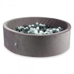 Ball Pit with balls 700pcs 130x40 velvet lilac (pearl, gray, white, transparent, metallic graphite)