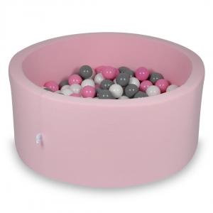 Ball Pit 90x40cm rose with balls 300pcs (white, gray, powder pink)