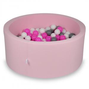 Ball Pit 90x40cm rose with balls 300pcs (white, gray, pink)