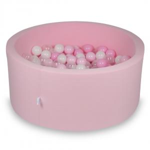 Ball Pit 90x40cm rose with balls 300pcs (baby pink, white, transparent, powder pink)