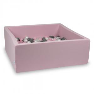 Ball Pit rose 110x110x40 with balls 600pcs (pearl, gray, baby pink)