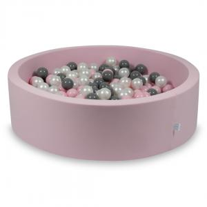Ball Pit rose 115x30 with balls 400pcs (pearl, gray, baby pink)