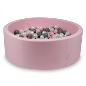 Ball Pit rose 115x40 with balls 500pcs (pearl, gray, baby pink)