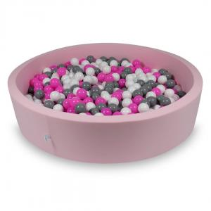 Ball Pit 130x30cm rose with balls 600pcs (white, gray, pink)