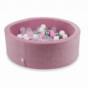 Ball Pit 90x30cm Velvet Soft Rose with balls 200pcs (powder pink, silver, white, transparent)