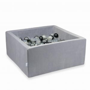Ball Pit 90x90x40cm Velvet Soft Light Gray with balls 400pcs (pearl, transparent, metallic graphite, silver)