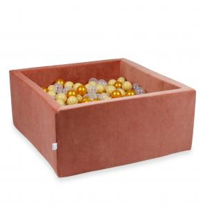 Ball Pit 90x90x40cm Velvet Soft Canyon Clay with balls 400pcs (gold, beige, transparent)