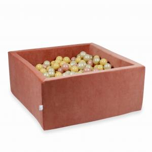 Ball Pit 90x90x40cm Velvet Soft Canyon Clay with balls 400pcs (rosegold, beige, light gold)