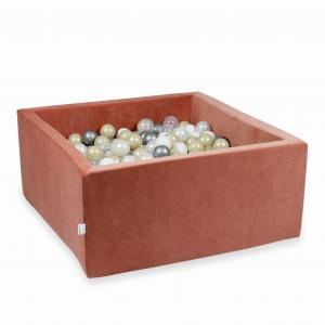 Ball Pit 90x90x40cm Velvet Soft Canyon Clay with balls 400pcs (transparent, white, pearl, silver, light gold)