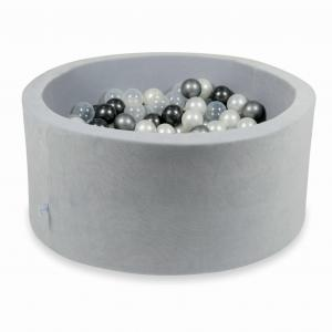 Ball Pit 90x40cm Velvet Soft Light Gray with balls 300pcs (pearl, transparent, metallic graphite, silver)