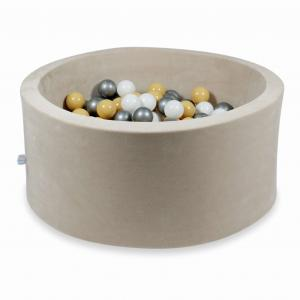 Ball Pit 90x40cm Velvet Soft Beige with balls 300pcs (beige, white, silver)