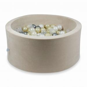 Ball Pit 90x40cm Velvet Soft Beige with balls 300pcs (light gold, mermaid effect, pearl, transparent, silver)