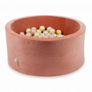 Ball Pit 90x40cm Velvet Soft Canyon Clay with balls 300pcs (rosegold, beige, light gold)