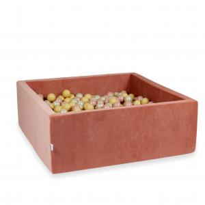 Ball Pit 110x110x40cm Velvet Soft Canyon Clay with balls 600pcs (rosegold, beige, light gold)