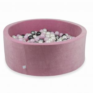 Ball Pit 110x40cm Velvet Soft Rose with balls 500pcs (baby pink pearl, silver, metallic graphite, pearl)