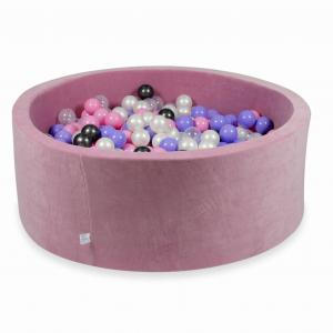 Ball Pit 110x40cm Velvet Soft Rose with balls 500pcs (metallic graphite, heather, powder pink, pearl, transparent)