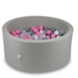 Ball Pit 90x40cm light gray with balls 300pcs (transparent, white, gray, powder pink)