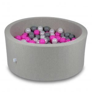 Ball Pit 90x40cm light gray with balls 300pcs (pink, pearl, gray)