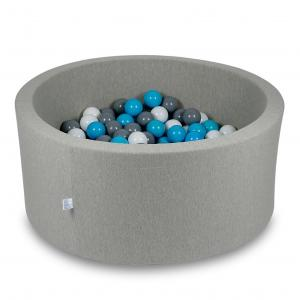 Ball Pit 90x40cm light gray with balls 300pcs (turquoise, white, gray)