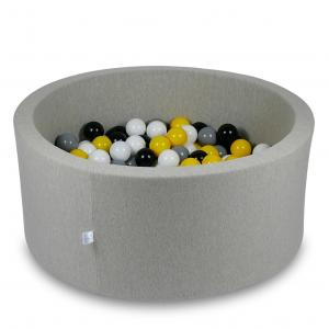 Ball Pit 90x40cm light gray with balls 300pcs (yellow, white, gray, black)